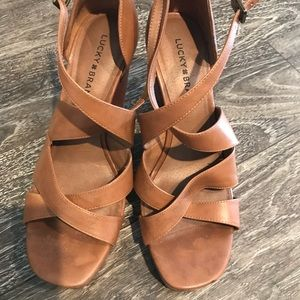 Lucky Brand Leather Wedge Sandals